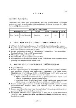 Sayfa 1 / 3 EK DUYURU Diyanet İşleri Başkanlığından