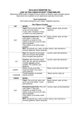 2014-2015 öğretim yılı lise ve fen lisesi kıyafet yönetmeliği