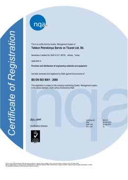 Tekkon Petrokimya Servis ve Ticaret Ltd. Sti. BS EN ISO 9001 : 2008