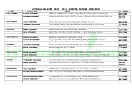 lefkoşa bölgesi ekım 2014 nöbetçi eczane çizelgesi