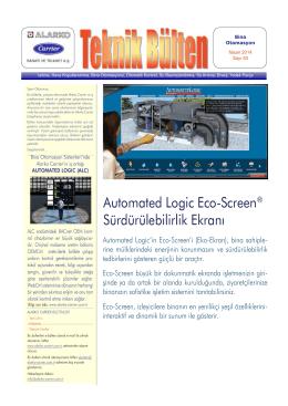 Automated Logic Eco-Screen Sürdürülebilirlik Ekranı