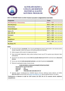 2015 Yılı KBUDEK Katılım ücretleri