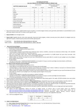 2014-2015 Başvuru İlanı - Fen Bilimleri Enstitüsü