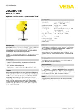 Kullanim Kilavuzu - VEGABAR 81 - HART ve akü paketi Diyafram