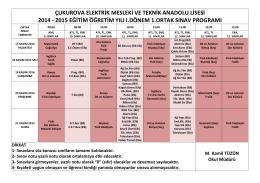 çukurova elektrik mesleki ve teknik anadolu lisesi 2014