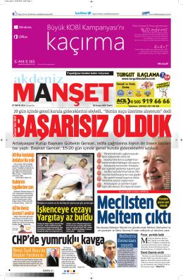 BAŞARISIZ OLDUK - Akdeniz Manşet