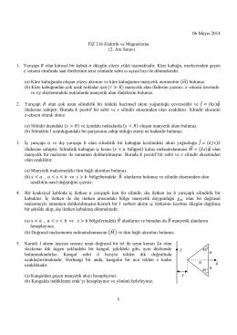 06 Mayıs 2014 FİZ 216 Elektrik ve Magnetizma (2. Ara Sınav) 1