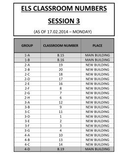 els classroom numbers sessıon 3