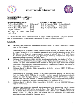 14/08/2014 Tıp Fakültesi Yönetim Kurulu Kararı