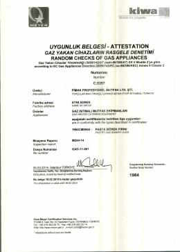 UYGUNLUK BELGES! - ATTESTATION