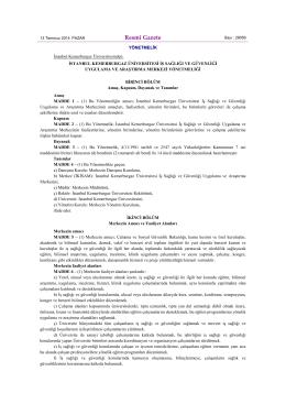 Resmî Gazete - İstanbul Kemerburgaz Üniversitesi