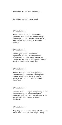 Tasavvuf Gazetesi ~Sayfa 1 24 Şubat 2014
