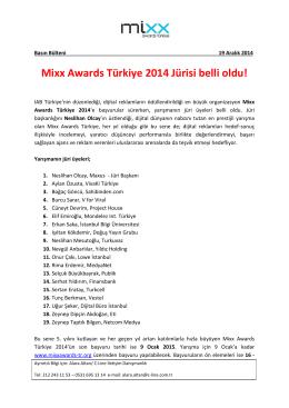 Mixx Awards Türkiye 2014 Jürisi belli oldu!