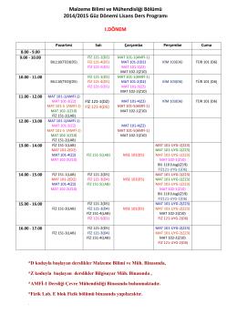 15 Güz Dönemi Lisans Haftalık Ders Programı