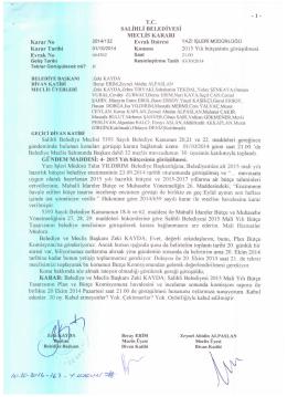 2014/132 2015 yılı bütçesinin görüşülmesi