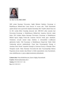 Uzm. Fzt. Elif ÇAMCI - Hacettepe Üniversitesi