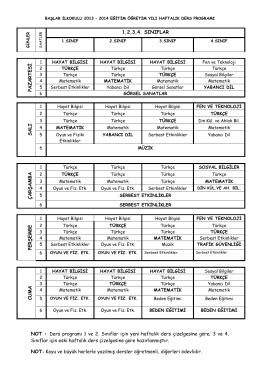 NOT : Ders programı 1 ve 2. Sınıflar için yeni haftalık ders