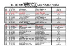 2014-2015 güz-final sınav programı örgün öğretim