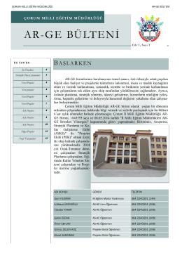 AR-GE BÜLTENİ - Milli Eğitim Bakanlığı