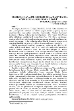 TOHUMCU, Zeynep Gonca Girgin-ÖRNEK OLAY ANALİZİ