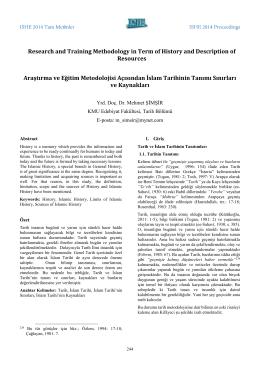 Araştırma ve Eğitim Metodolojisi Açısından İslam Tarihinin Tanımı