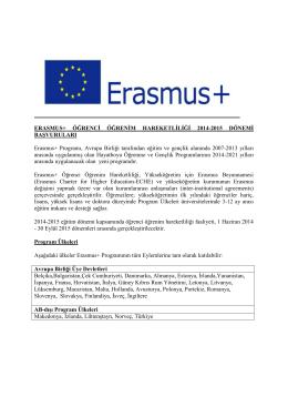 erasmus öğrenci hareketliliği 2012-2013 dönemi