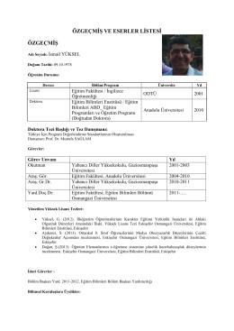 Yrd.Doç.Dr. İsmail Yüksel - Eğitim Fakültesi