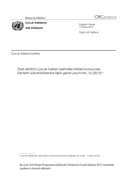 Genel Yorum No. 16 - Çocuk Hakları İzleme ve Raporlama