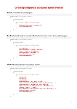 C# ile ilgili başlangıç düzeyinde temel örnekler