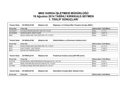 19 Ağustos 2014 TARİHLİ KIRIKKALE
