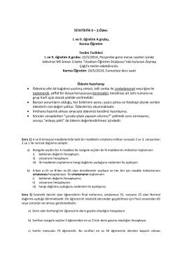 İSTATİSTİK II – 2.Ödev I. ve II. öğretim A grubu, Karma Öğretim