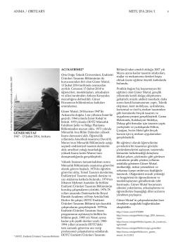 ANMA / OBITUARY METU JFA 2014/1 v