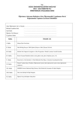 Öğretmenlik Uygulaması 1 Etkinlik Planlama Örneği (Ek-1)