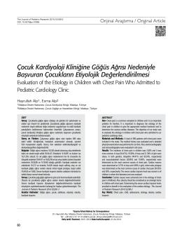 Çocuk Kardiyoloji Kliniğine Göğüs Ağrısı Nedeniyle