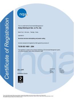 Astaş Alüminyum San. ve Tic. A.Ş. TS EN ISO 14001 : 2004
