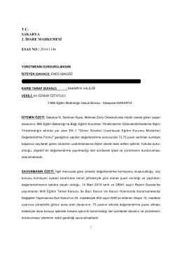Sakarya 2. İdare Mahkemesinin Yürütmeyi - Türk Eğitim-Sen