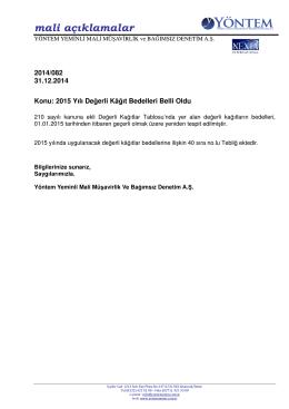 2014-082 2015 Yılı Değerli Kağıt Bedelleri Belli Oldu