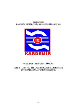 01.01.2014 – 31.03.2014 DÖNEMİ