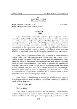 Osmaniye Valiliği Kamu Hizmetlerinde Uyulacak Esaslar 1/12 T.C.