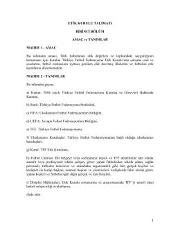 etik kurulu talimatı - Türkiye Futbol Federasyonu