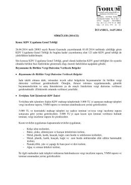KDV Uygulama Genel Tebliği 26.04.2014 tarih 28983