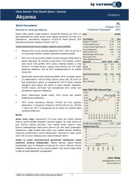 12/09/2014 - İş Yatırım