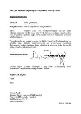 KKB Çek Raporu (Gerçek Kişiler İçin) Talimat ve Bilgi Formu