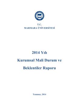 2014 Yılı Kurumsal Mali Durum ve Beklentiler Raporu