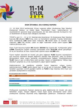 SIGN ĐSTANBUL 2014 SONUÇ RAPORU 11- 14