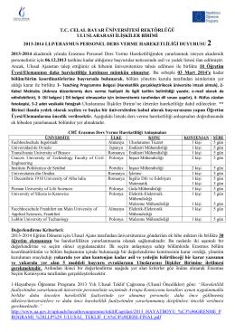 2013-2014 llp/erasmus personel ders verme hareketliliği duyurusu