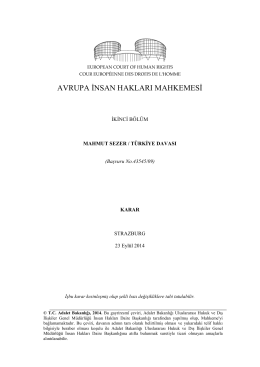 23 Eylül 2014 tarihli Mahmut Sezer v. Türkiye Kararı