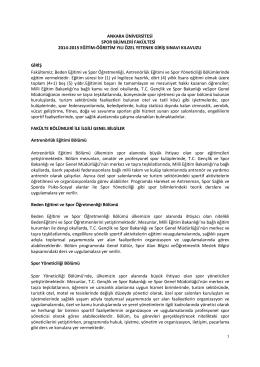 ankara üniversitesi spor bilimleri fakültesi 2014-2015 eğitim