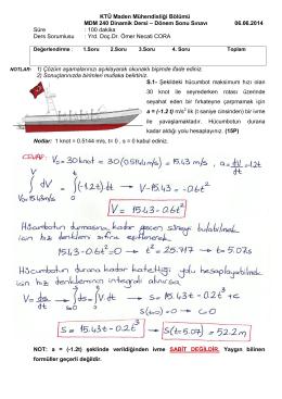 KTÜ Maden Mühendisliği Bölümü MDM 240
