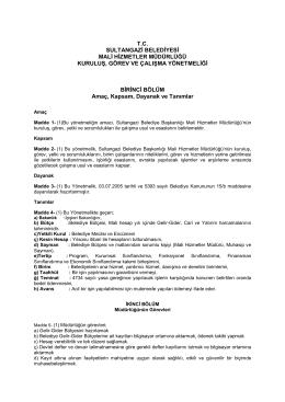 tc sultangazi belediyesi mali hizmetler müdürlüğü kuruluş, görev ve